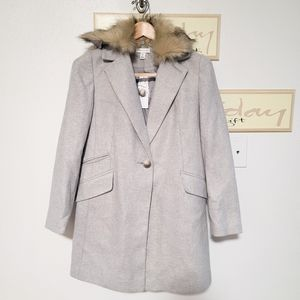 Topshop Monica Faux Fur Collar Coat size 4